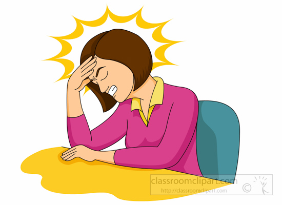 Girl headache clipart.