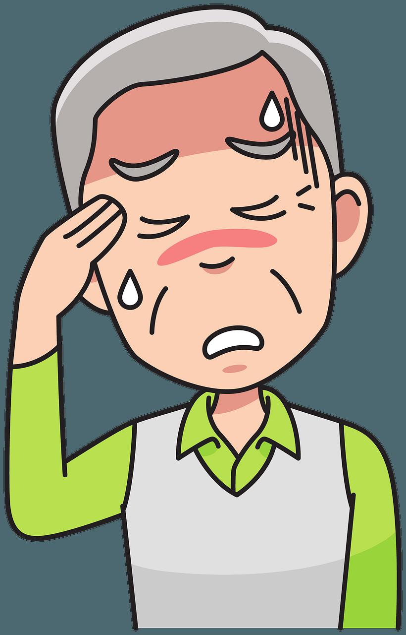 Grandpa with headache clipart. Free download..