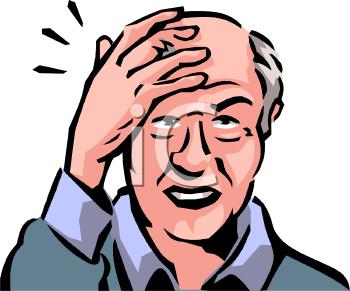 Old Man with a Headache Clip Art.
