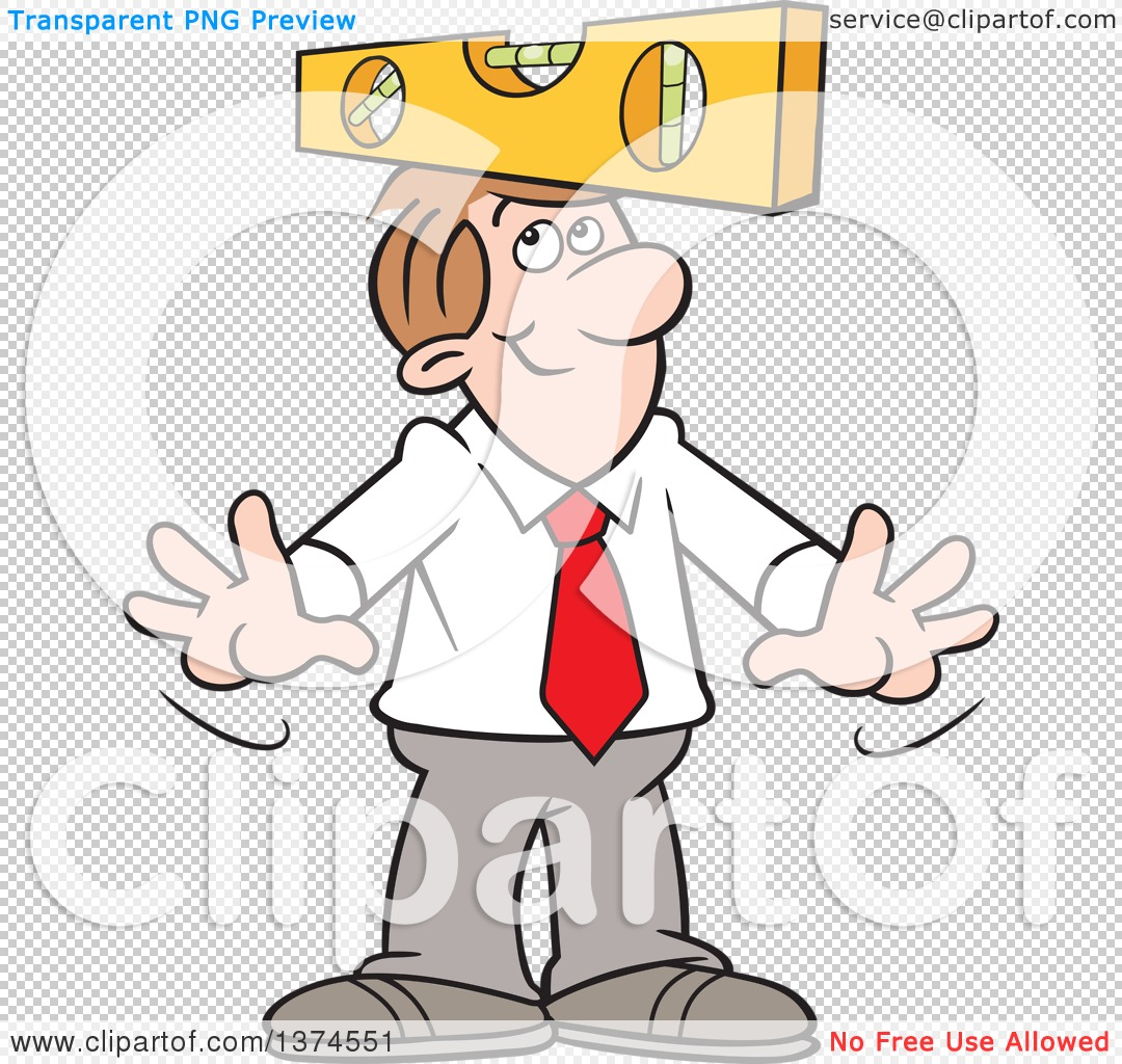 Cartoon Clipart of a Level Headed White Business Man Balancing a.