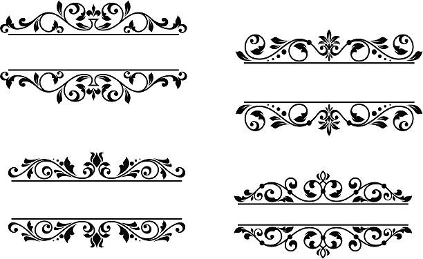 Header Frame With Retro Floral Elements Illustrations, Royalty.