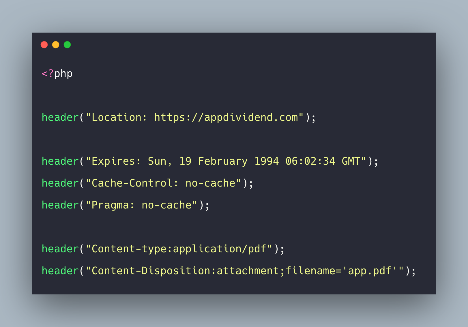 PHP header() Function Example.