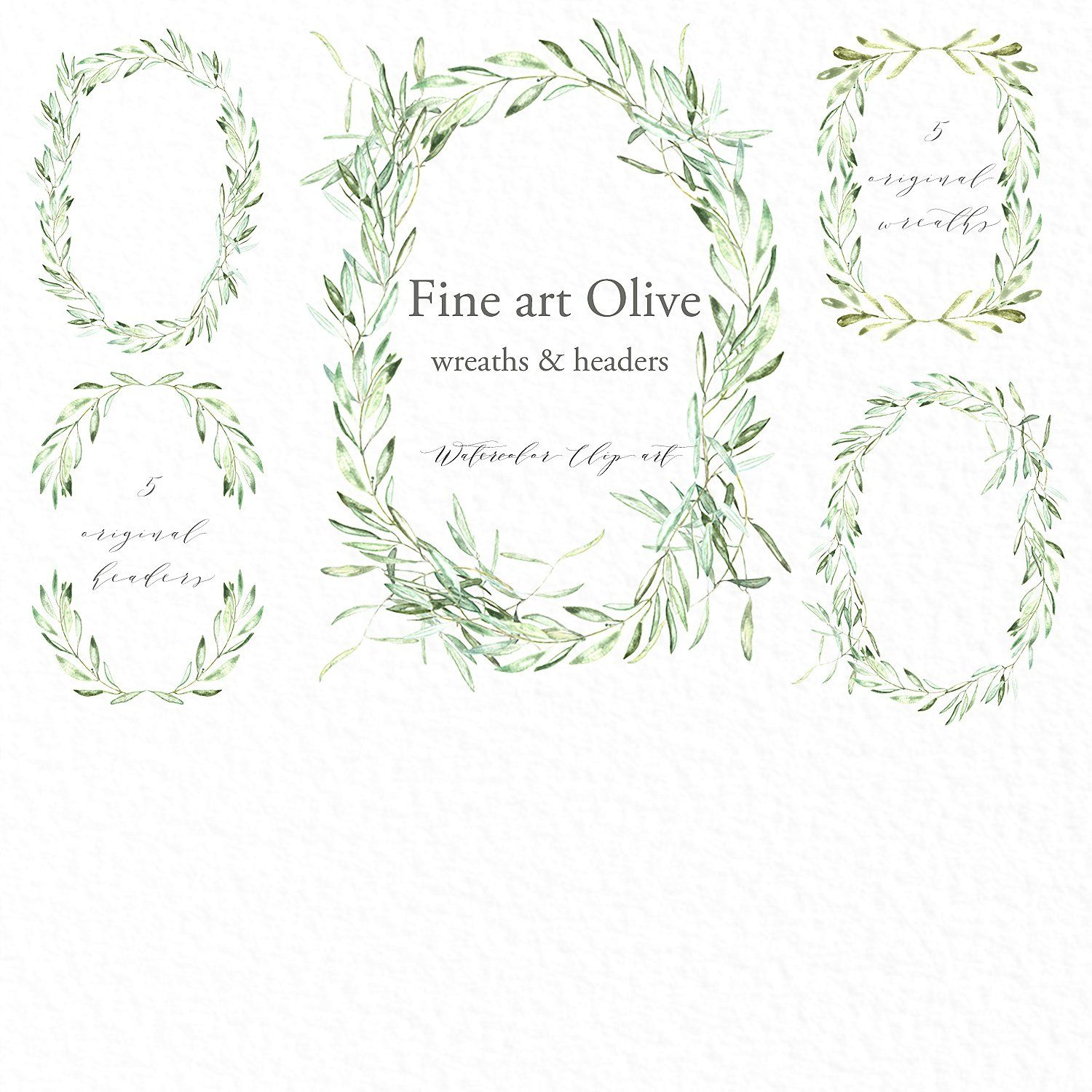 Olive oval wreaths & headers clipart by LABFcreations on.