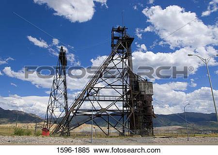Stock Image of Headframe in a field, Anselmo Mine, Butte, Montana.