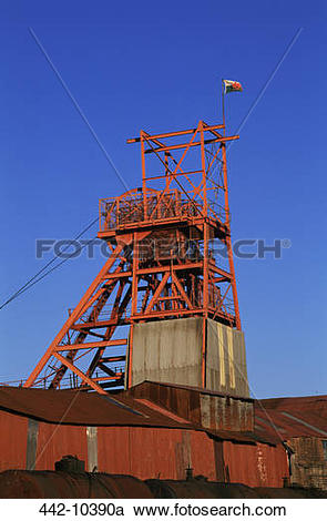 Stock Photography of Low angle view of a headframe, Big Pit.