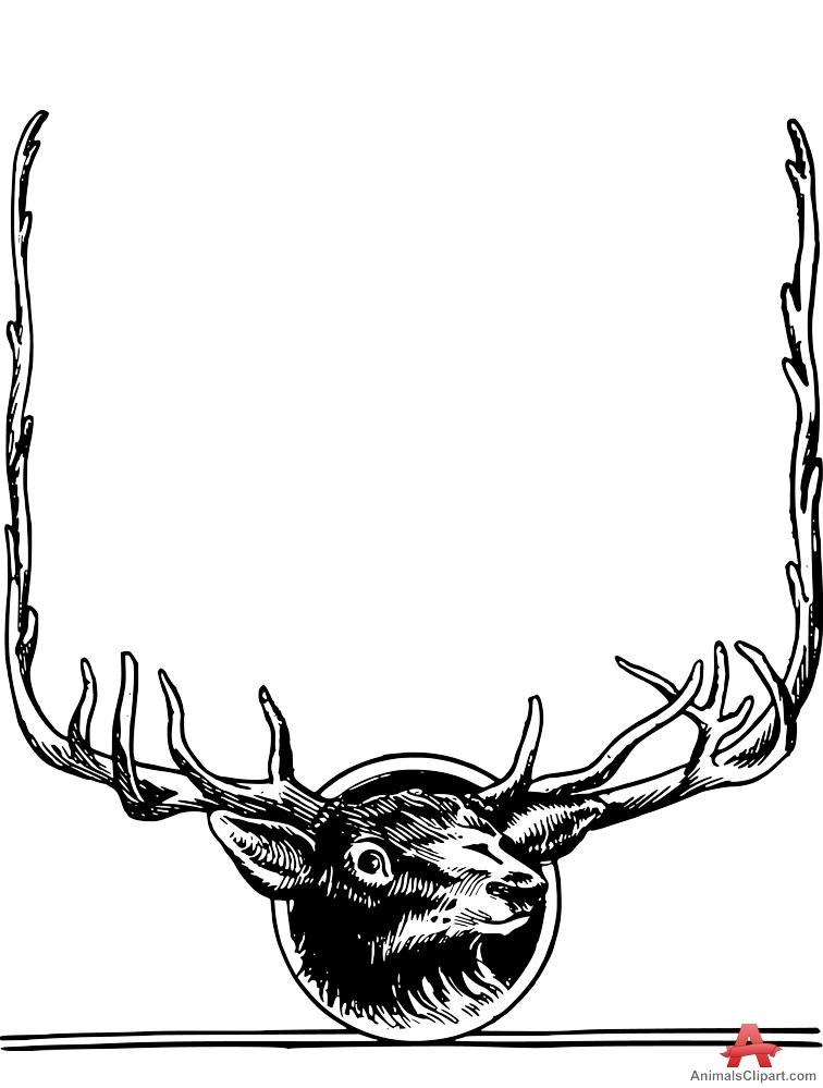 Clipart of Deer Head Frame.