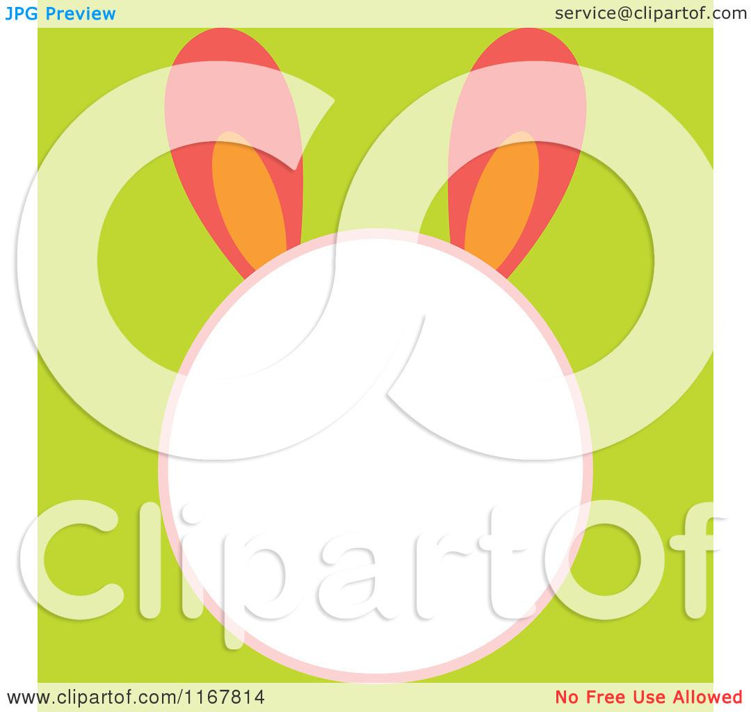 Cartoon of an Easter Bunny Head Frame on Green.