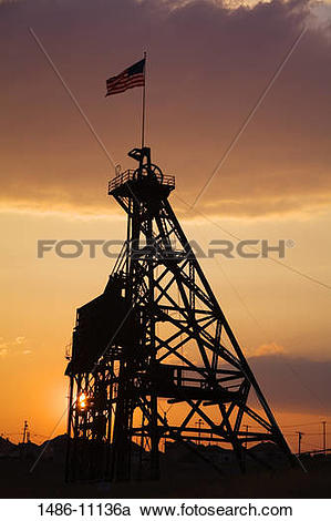 Stock Photography of Low angle view of a headframe, Anselmo Mine.