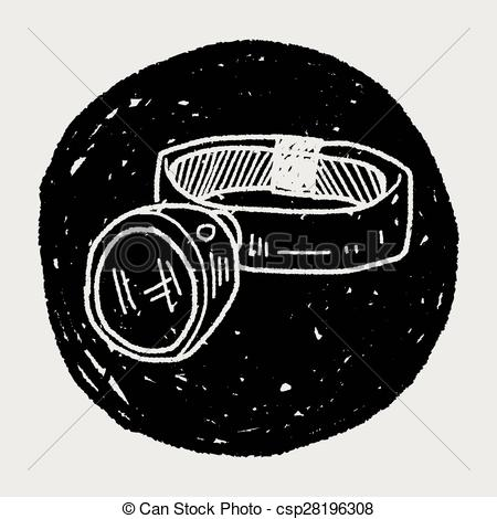 Vector Clipart of Headlamp doodle csp28196308.