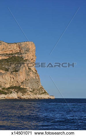 Stock Photography of Headland and cliff, Mediterranean coast.