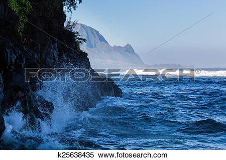 Stock Image of Headland of Hanalei on island of Kauai k25638435.
