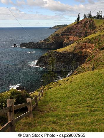 Stock Illustrations of Norfolk Island Headland.