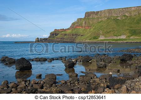 Stock Photo of Giant's Causeway headland.
