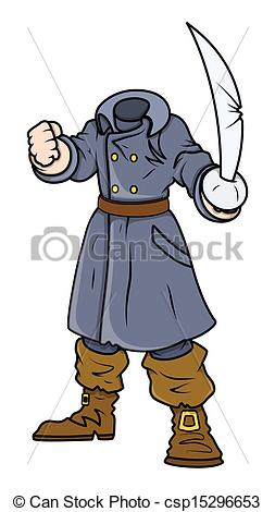 Clipart Vector of Headless Pirate Captain.