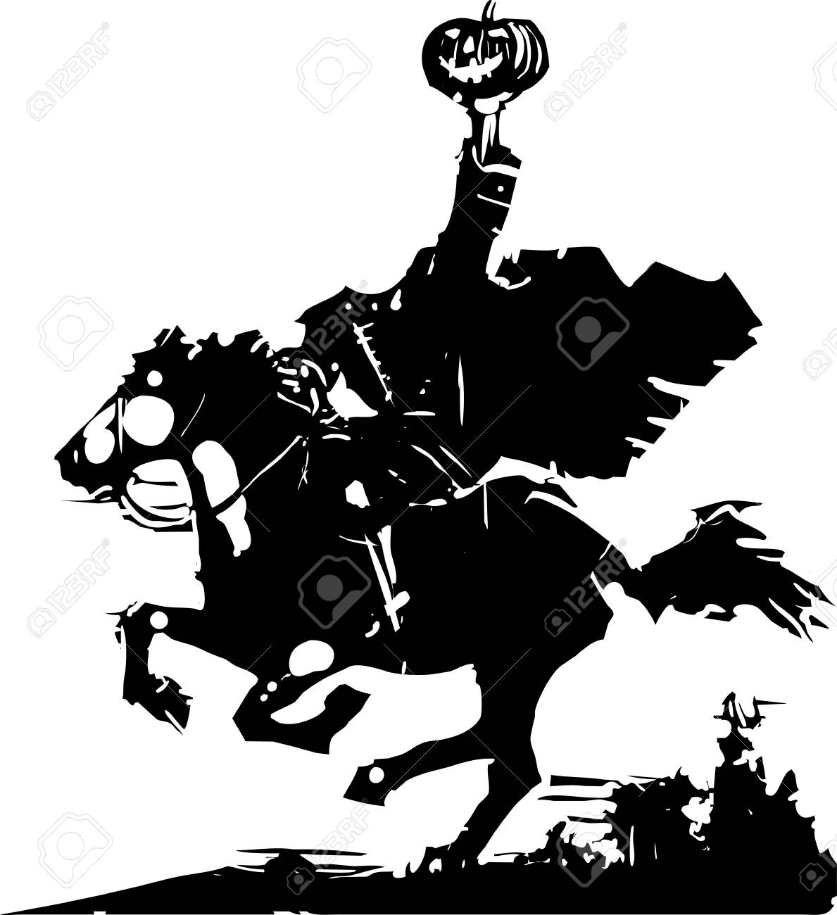 Woodcut style expressionist image of the Headless horseman ghost...