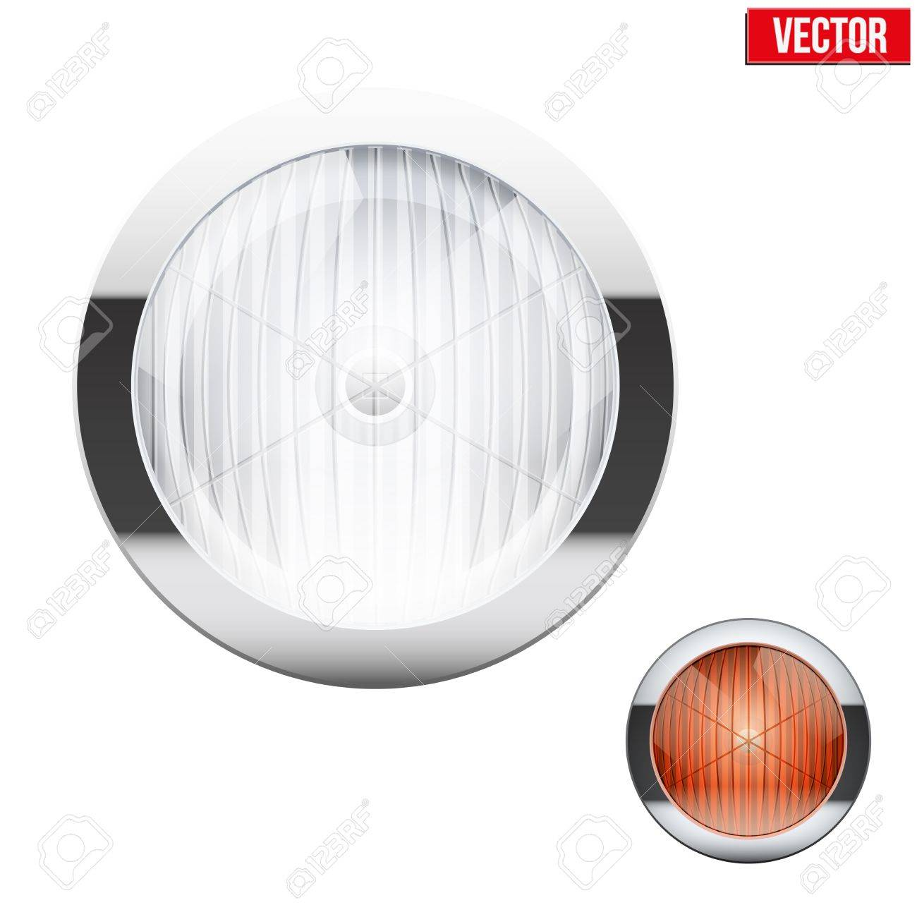 Round car headlight and turn indicator. Vintage Vector Illustration...
