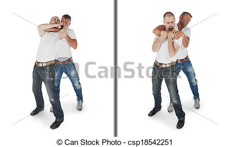 Stock Images of Man defending against a headlock, isolated on.