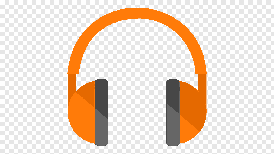 Orange and gray headphone logo, angle brand headphones font.