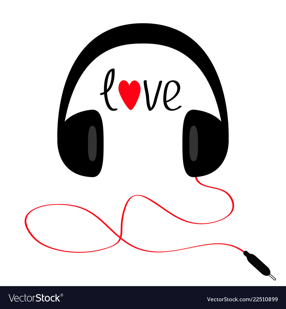 Headphones with cord cable and word love red.