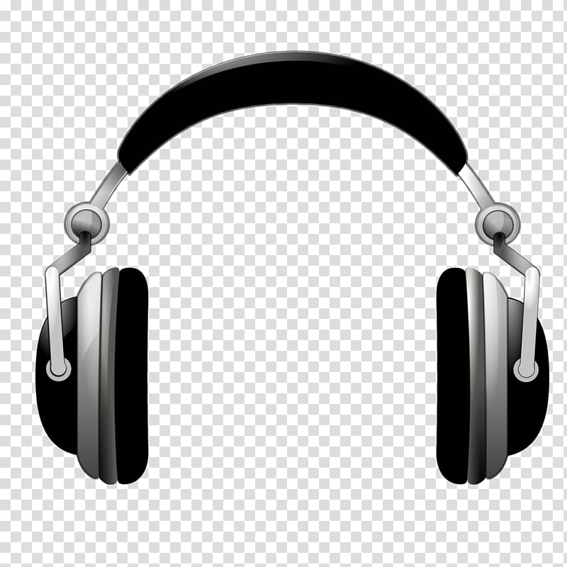 Black and gray wireless headphones illustration, Microphone.