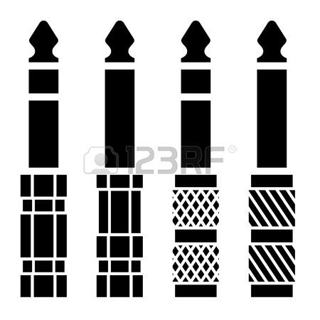Audio Jack Connector Black Symbols Royalty Free Cliparts, Vectors.