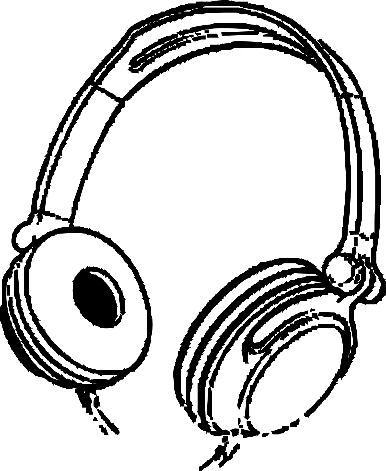 Headphones clipart black and white, Headphones black and.