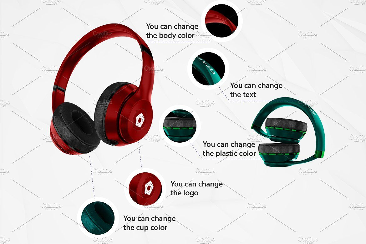Headphones Mockup Kit #brands#suitable#design#consists.