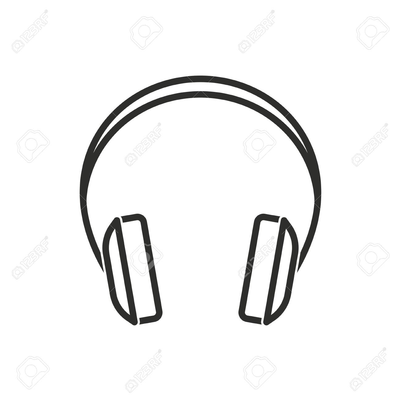 Headphone vector icon. Black illustration isolated on white background...