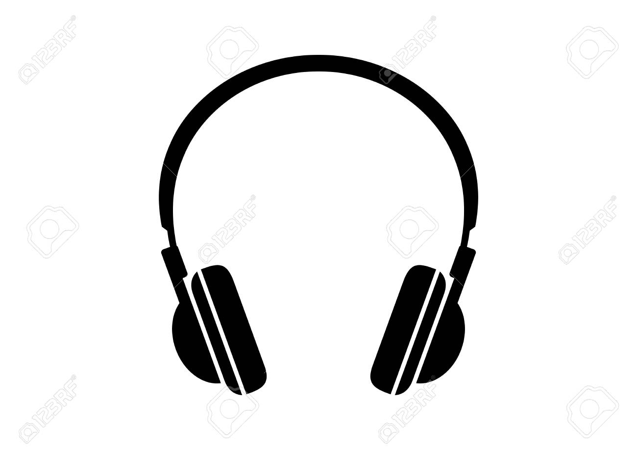 Black headphones icon on white background.