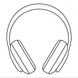 Black And White Sketched Headphones.