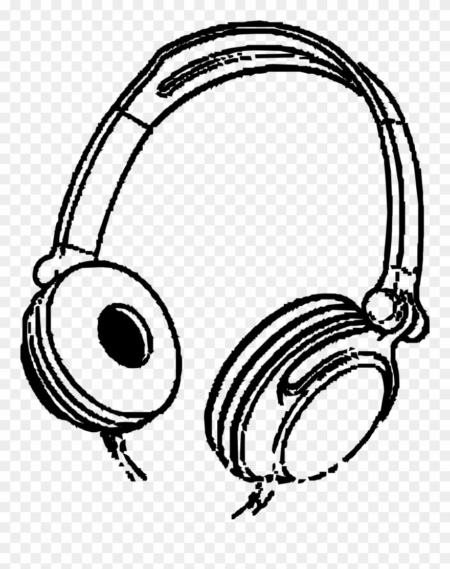 Drawing Headphones Cartoon Banner Royalty Free Download.