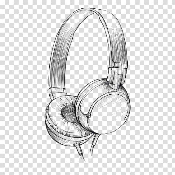 Corded headphones sketch, Drawing Headphones Watercolor.