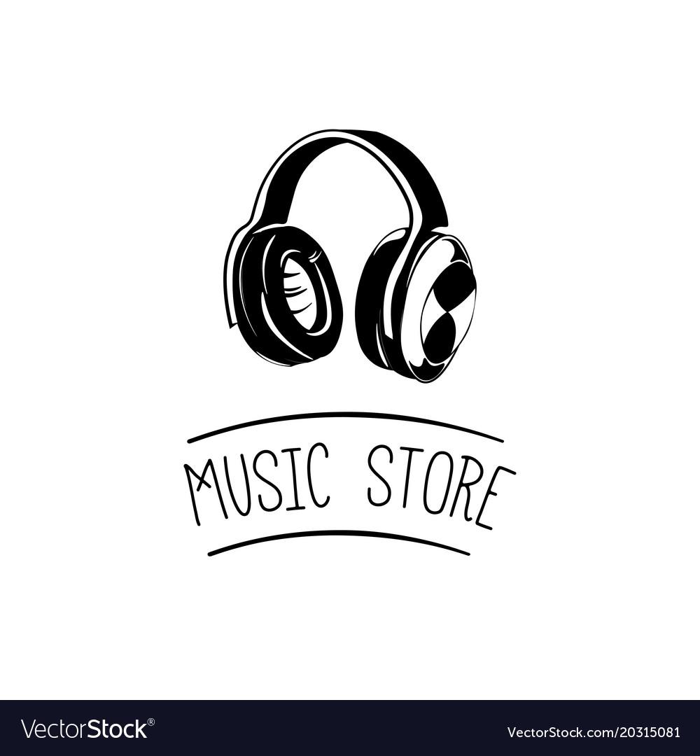 Music headset logo design templateelement design.