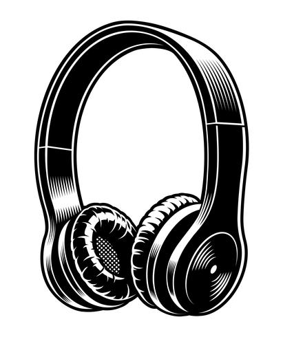 Black and white illustration of headphones..
