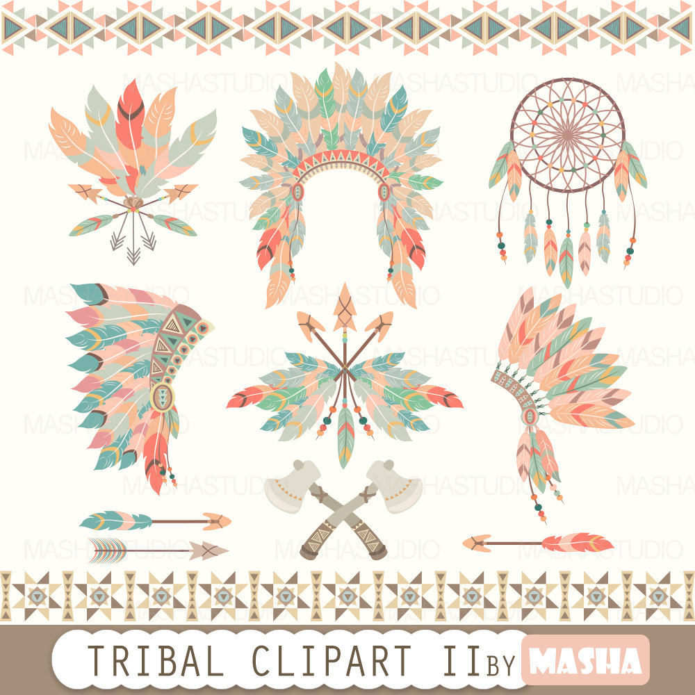 Indian head piece feathers clipart.