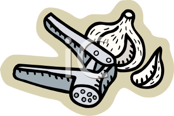 Royalty Free Clipart Image: Garlic Press with a Head of Garlic.