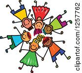 Clipart Of A Diverse Group Of Stick Children Laying Down In A Circle.