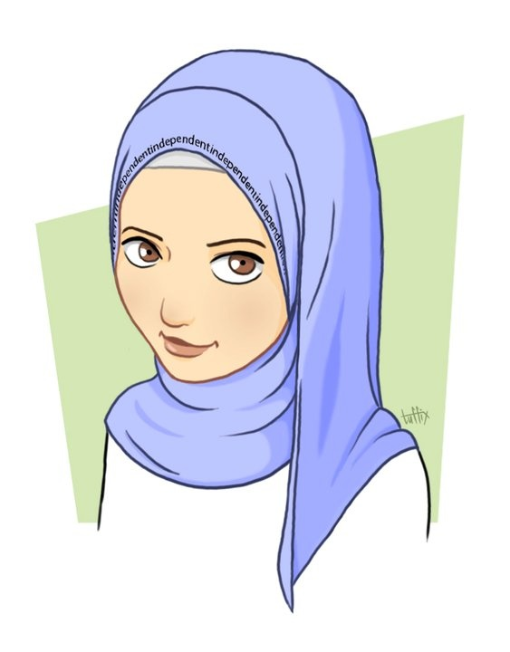 Woman wearing hijab clipart.