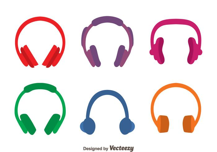 Colored Headphone Vectors.