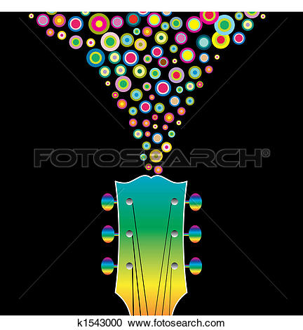 Clipart of A colorful guitar headstock k1543000.