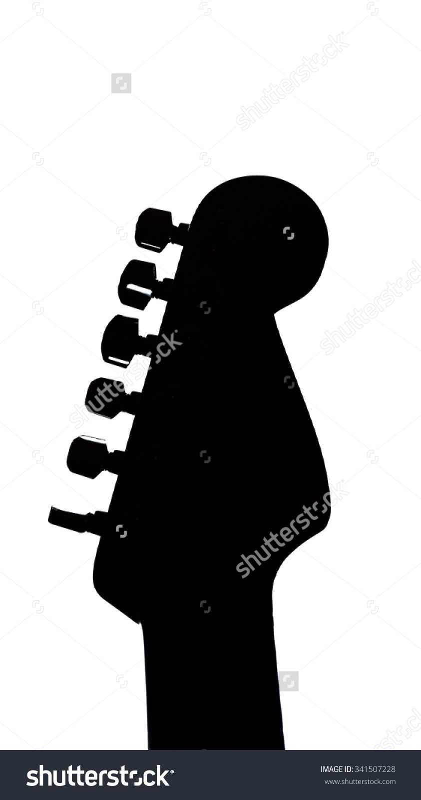Electric Guitar Headstock Silhouette Isolated On Stock Photo.