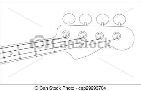 Vector Clipart of Bass Headstock Outline.