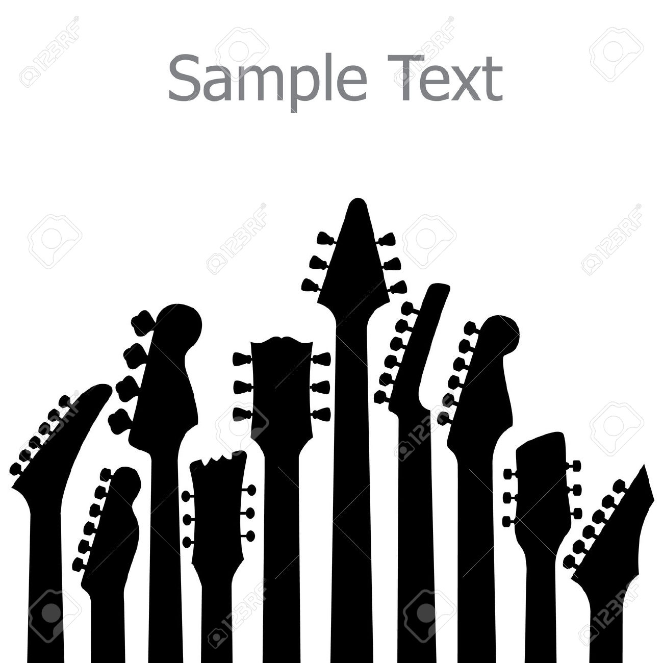 A Music, Vector Background With Guitar Headstocks Royalty Free.