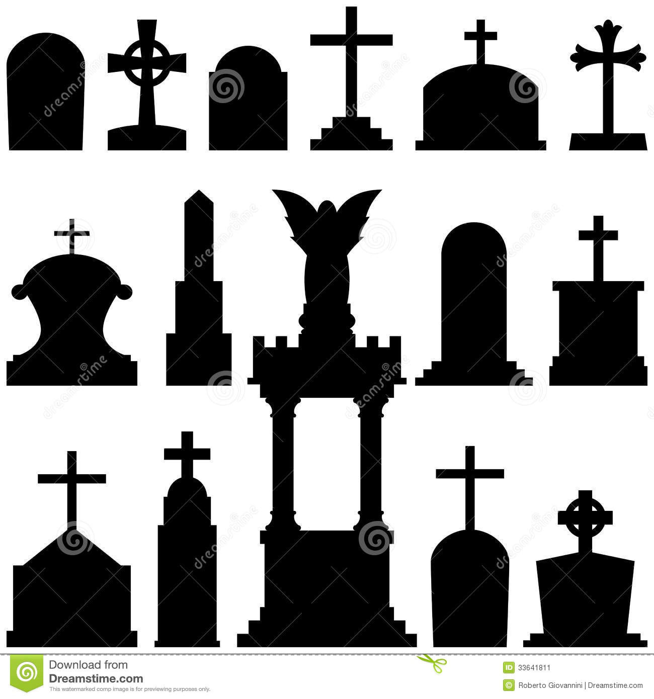 Headstones And Gravestones In Vector Stock Photos.