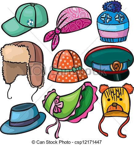EPS Vector of Headwear set of icons csp12171447.