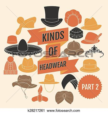 Clipart of Kinds of headwear. Part 2. k28217261.