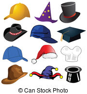 Vectors Illustration of various vector hats.