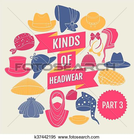 Clipart of Kinds of headwear. Part 3 k37442195.