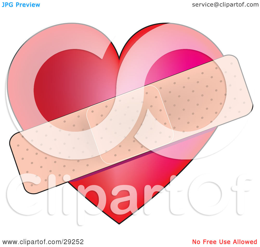 Clipart Illustration of a Red Love Heart Bandaged To Heal The Pain.
