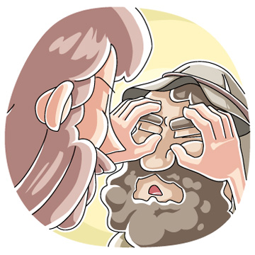 Clipart of jesus healing the blind man.
